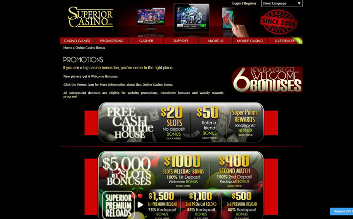 Superior Casino Bonus and Promotions