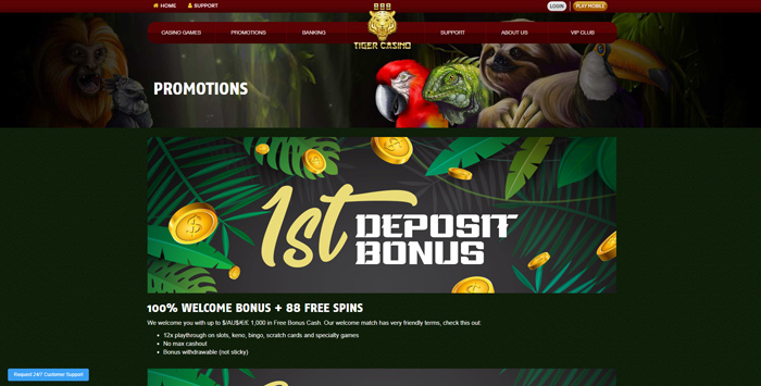 welcome offer at 888 tiger casino