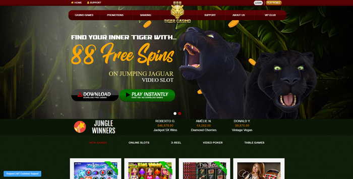 Get 88 Free Spins at 888Tiger Casino