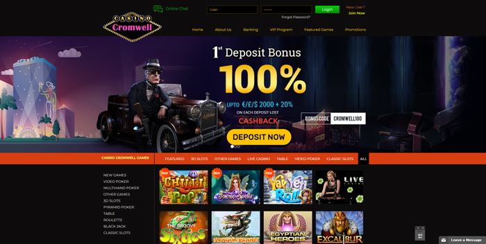 Casino Cromwell Review Homepage