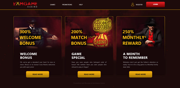 Huge Casino Bonuses at DomGame Casino