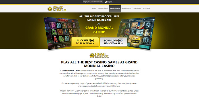 Game Offer Grand Mondial Casino