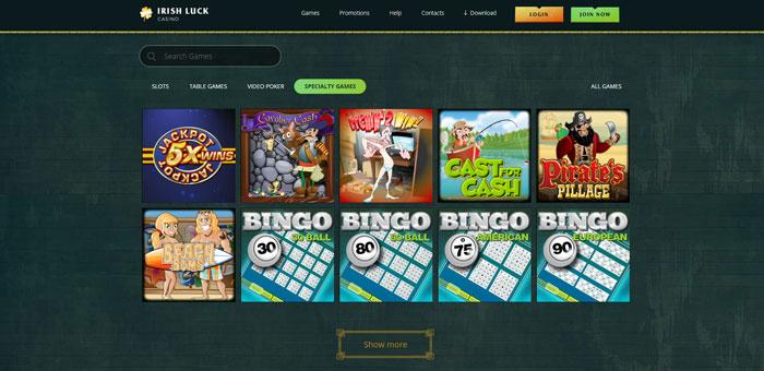 Casino Games at Irish Luck Casino