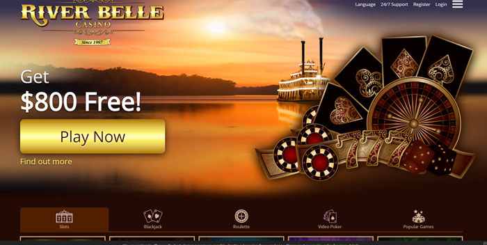 River Belle Casino homepage